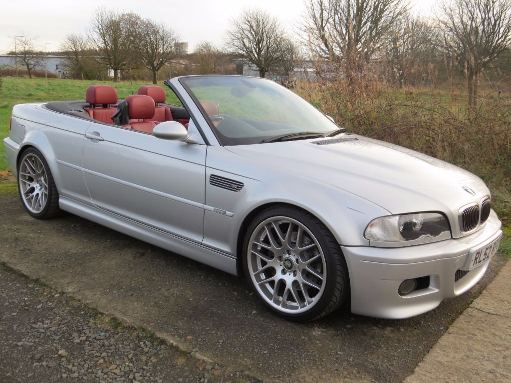 69k miles 2002 bmw e46 m3 convertible silver with red leather fsh genuine csl alloys. Black Bedroom Furniture Sets. Home Design Ideas