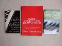 Piano playing technique: 3 books to help improve piano playing. Can sell separately at £2.50 each