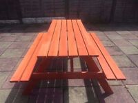 BRAND NEW 5FT PICNIC BENCH HEAVY DUTY WOODEN GARDEN TABLE BBQ Bargain price