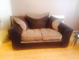 2 x 2 Seater Black & Grey Sofas