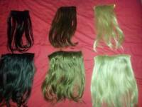3 sets of synthetic hair extensions