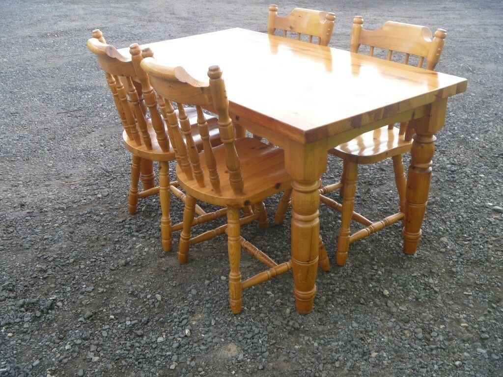 Chunky Pine Farmhouse Kitchen Dining Table 4 Chairs FREE DELIVERY AVAILABLE