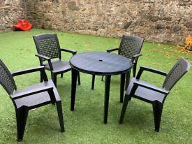 Plastic Garden Patio Set 4 grey chairs and 1 dark dark green table