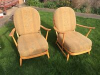 Vintage Ercol Windsor 203 chairs -reupholstered, excellent condition