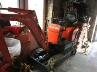 Kubota k008-3 micro digger with three buckets and quick hitch. Ter cert. Bought for home project.