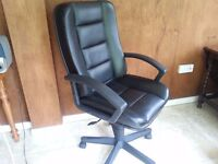 High Back, Black Faux Leather, variable height, reclining swivel chair in good condition.