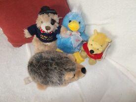 4 Soft toys, Hedgehog, Duck, Poo Bear and Norfolk teddy