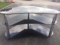 3 tier black glass corner TV stand