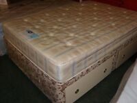 Double Divan Base with 4 Drawer Storage with Clean Silentnight Miracoill No Roll Together Mattress