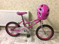 "KIDS GIRLS CHILDREN UNIVERSAL STAR 16"" WHEEL AGES 5-11 WITH HELMET BIKE BICYCLE for sale  London"