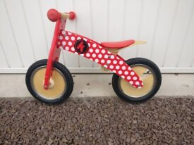 Red Dotty Kurve Wooden Balance Bike Ages 3-5