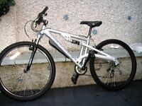 "diamondback mountain bike.silver in colour,26""wheels.16""frame.twist gears.excellent condition."