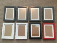 8x IKEA RIBBA Picture Frames, 10 x 15cm - Grey, White, Red, Black