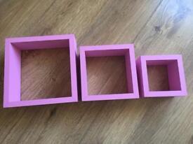 3x pink cube shelf's