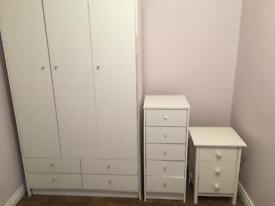White wardrobe unit , tall boy / chest of drawers , bedside locker and wooden/ canvas wardrobe