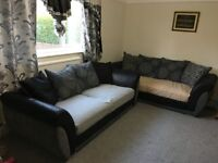 2 Very Good Condition Black/Grey Fabric & Suede 3 Seaters Pillow Back Sofas. 2 Sets
