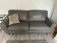 Grey leather 2 piece sofa set