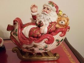 2 santa china ornaments