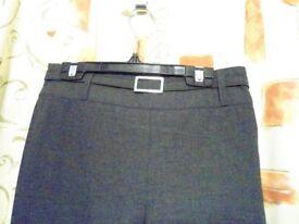 John Lewis Girls Senior. Belted Trousers with Zip. Dark Grey. Size: 11yrs