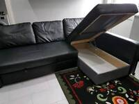 Black Leather Corner Sofa bed. Only £300. *Free Delivery & Free Assembly*