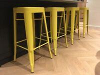 4 Yellow Metal Designer Bar Stools