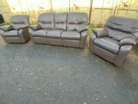 Brown Leather Sofa Suite*DELIVERY *