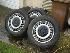 Four VW T5 Steel wheels and tyres 6mm Tread 205/65/16