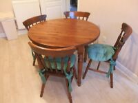 ROUND PINE TABLE & 4 CHAIRS