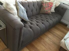 DFS Grand Trafalgar 4 seater sofa. Chesterfield style slate grey