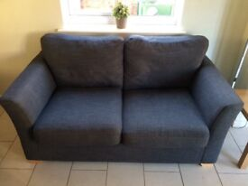 Sofa - grey - 3 seat with matching storage footstool Well used with some stains and marks.