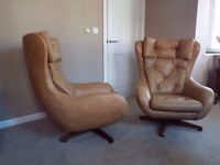 Pair of Vintage Retro Mid Century Danish Egg Chairs Swivel Tilt Armchairs,Can Deliver