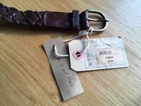7 x Fat Face ladies brown plaited leather belt size M-L