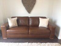 Next Armitage Natural Grain Leather Sofa extra large