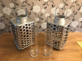 2 x Silver Wooden Woven Lantern With Vase Insert NEW