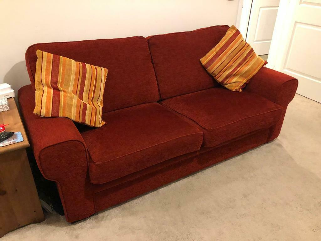 Sofa bed, sprung mattress, red full working order   in ...