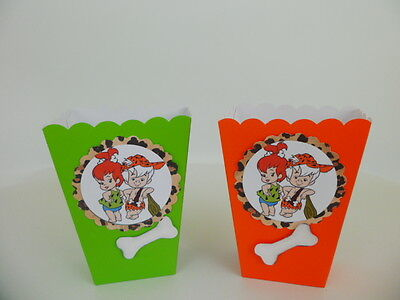 Baby Shower Favor Bags And Boxes (Pebbles and Bam Bam party favors,  popcorn/ candy boxes, goodie bags SET OF)