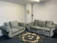 Silver crushed velvet sofas 3&2 delivery 🚚 sofa suite couch furniture