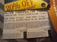 2 Alton Towers Tickets for Monday 26th September 26/9/16