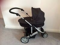 MAMAS AND PAPAS ZOOM TRIO BABY PUSHCHAIR PRAM INCL COT, ISOFIX BASE, ADAPTERS & PUSHCHAIR ATTACHMENT