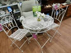 New white metal garden bistro set
