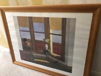 Large Edward Hopper'Brooklyn View' print in solid oak frame