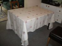 Vintage 1920s Large Embroidered Tablecloth