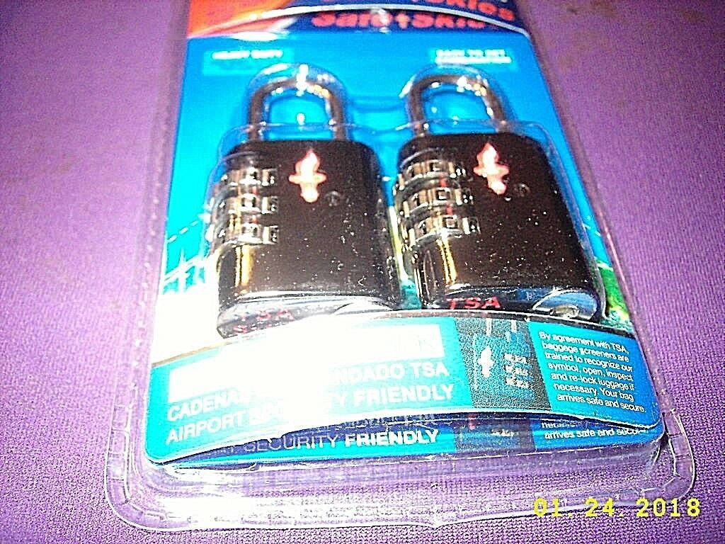 Safe Skies - TSA Approved Luggage Padlock - Basic Black 2 Pc In Clamshell Packag - $8.00