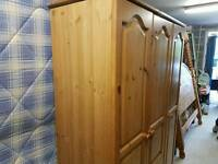 Solid pine triple wardrobe