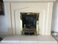 Chimney and flue vogue coal effect gas fire with brass frame