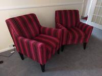 Luxury Next chenille stripe arm chairs