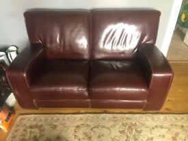 Beautiful chestnut brown leather sofa