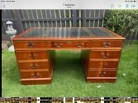 CAPTAINS DESK GREEN LEATHER INLAY