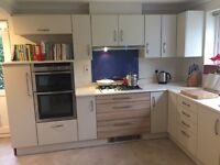 Large Second Hand Cream Kitchen With All Appliances and Corian Worktop