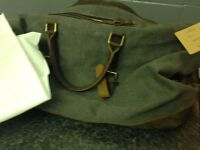 S-zone Real Leather Canvas Satchel Vag